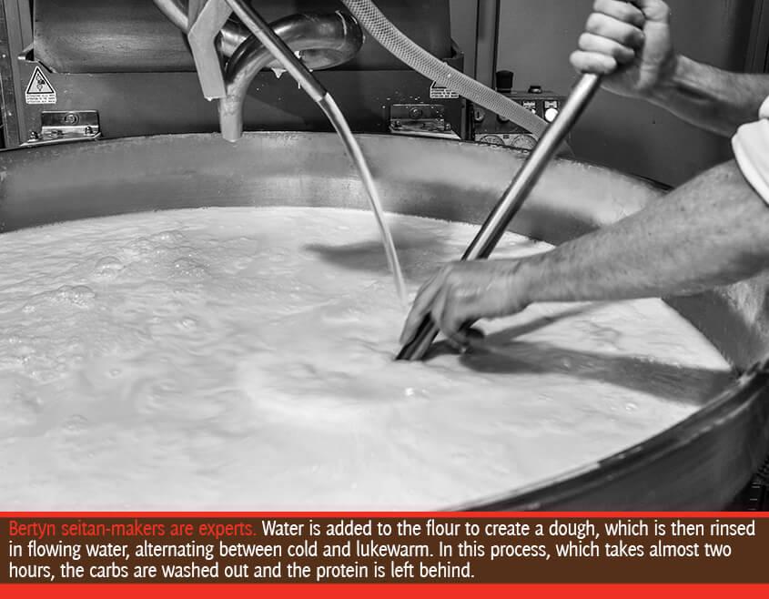 the seitan flour is flushed