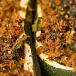 A delicious golden-brown crust with this recipe for an Indian-filled zucchini with seitan and garam masala