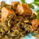 Recept voor stoofpotje van boerenkool met seitan en rode palmolie