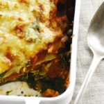 Vegetarian lasagna with chopped seitan