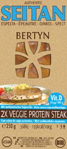 Voorkant van de verpakking van de veggie protein steak spelt met vitamine d van Bertyn