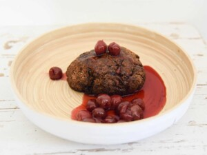 vegetarian meatloaf with sour cherries made from Bertyn's instant protein vegan mix